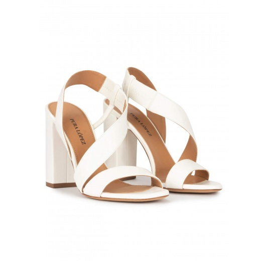 High block heel sandals in off-white leather Pura López