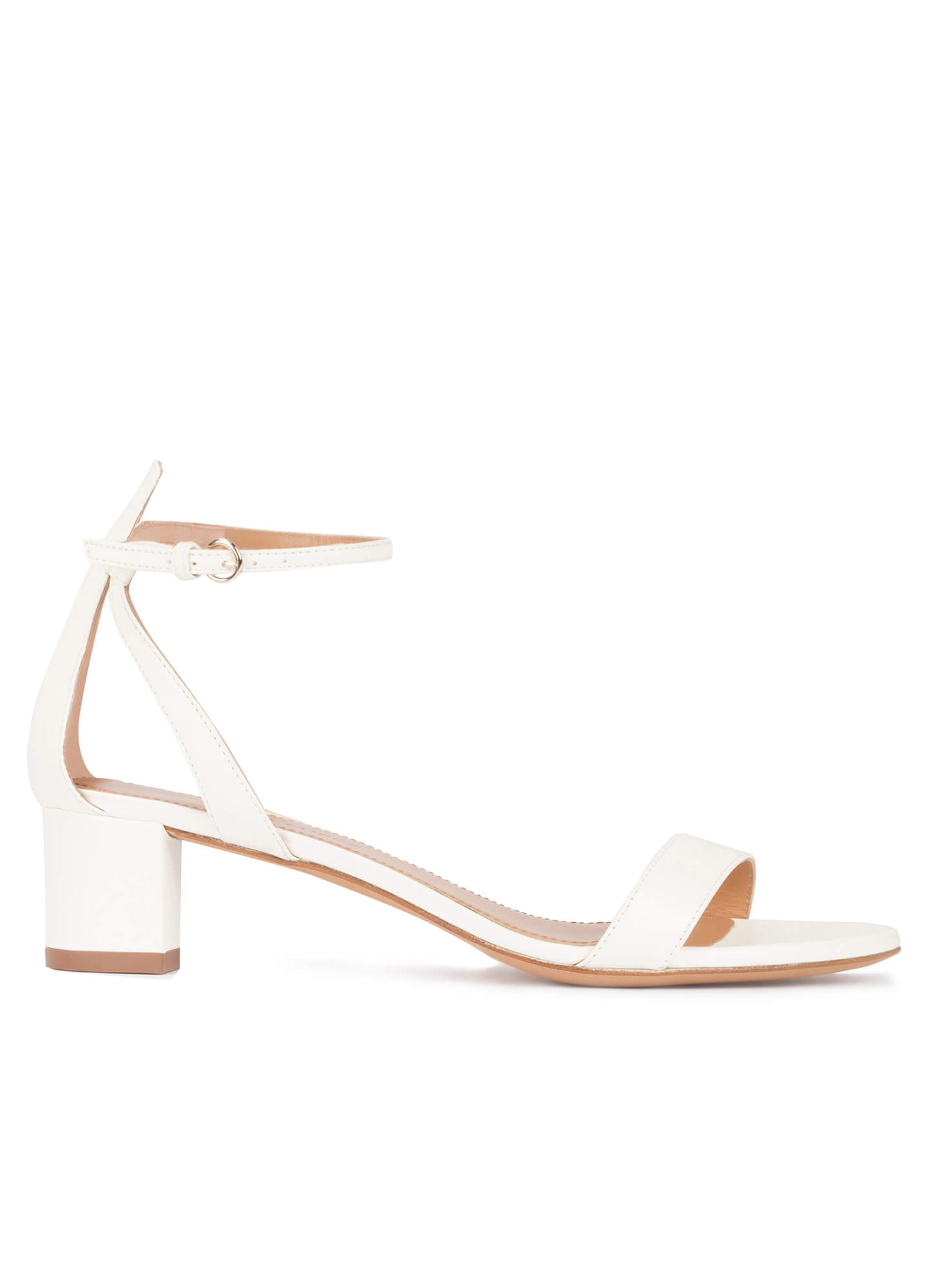 0e27f8d53228 Oneida Pura López. Ankle strap mid block heel sandals in offwhite leather  ...