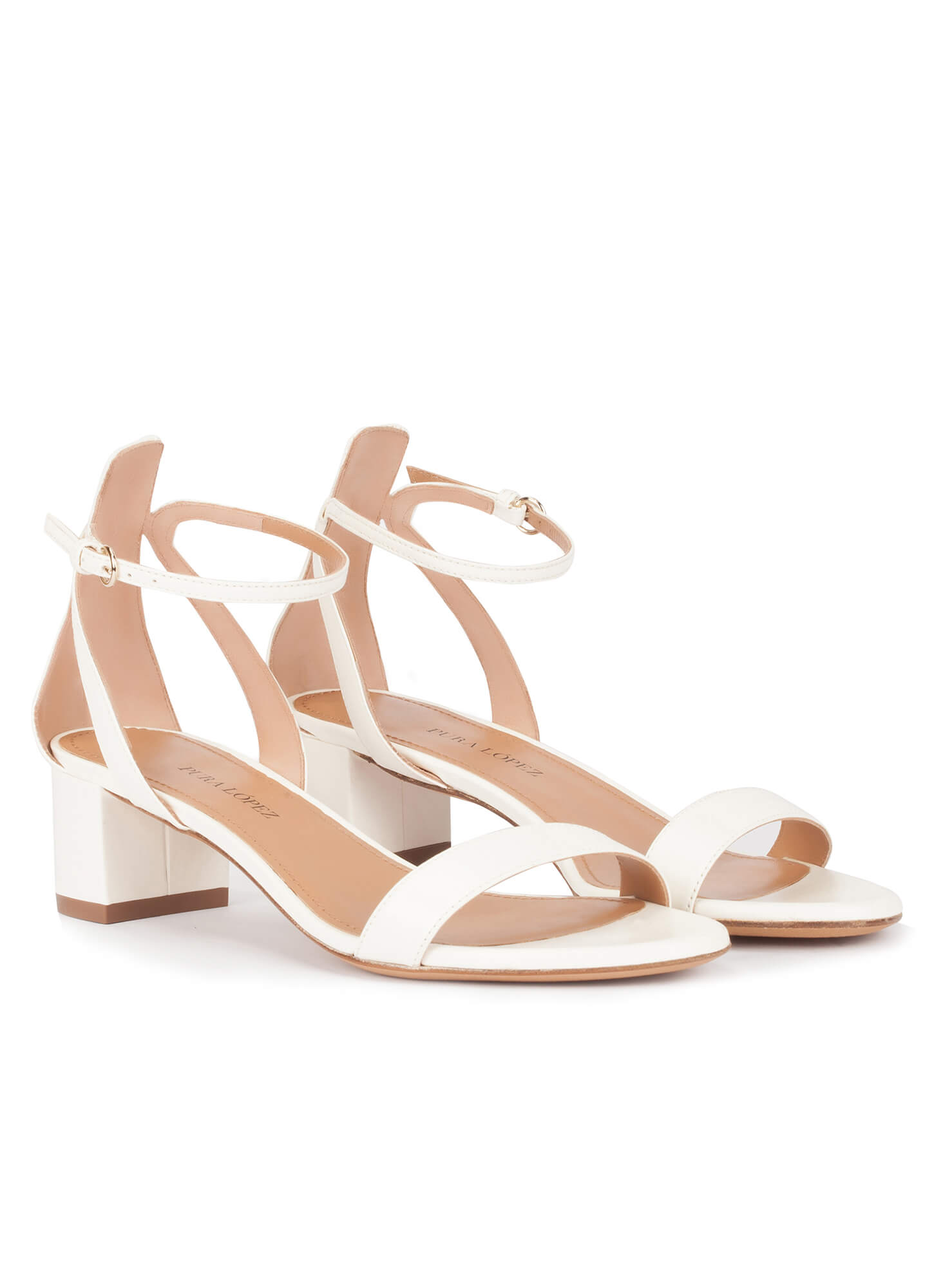 c37c12ccacee Ankle strap mid block heel sandals in offwhite leather. Oneida Pura López