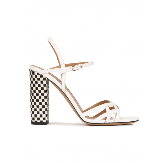 Strappy high block heel sandals in off-white leather Pura López