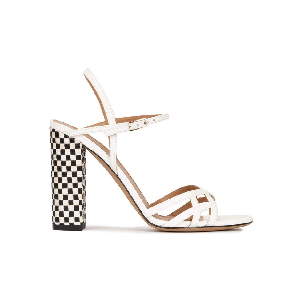 Strappy high block heel sandals in off-white leather