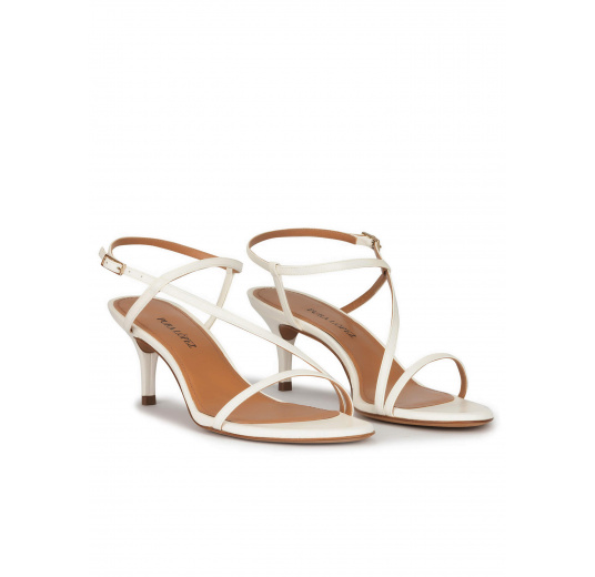 Strappy mid heeled sandals in off-white leather Pura López