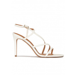 Strappy stiletto heel sandals in off-white leather Pura López