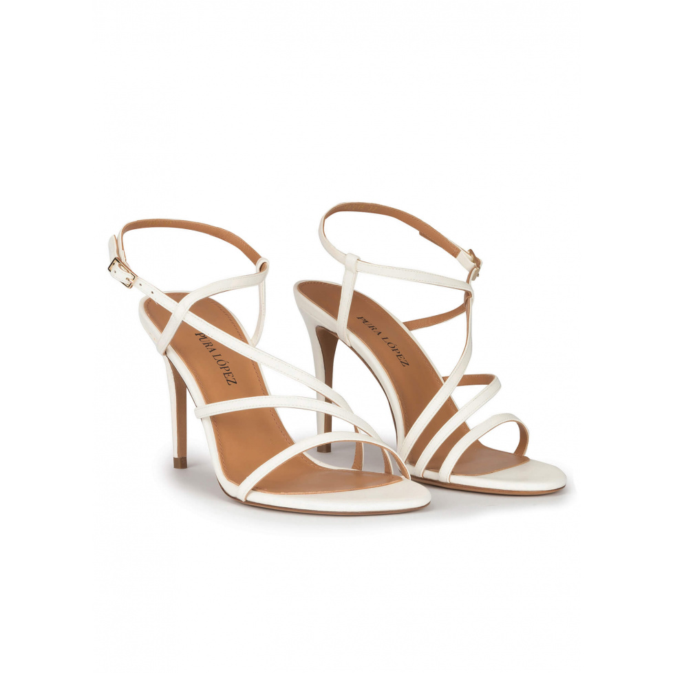 Strappy stiletto heel sandals in offwhite leather