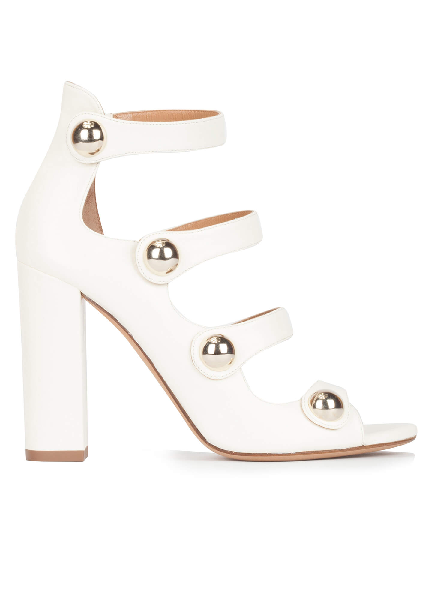 d8235c9bda White strappy high block heel sandals in leather . PURA LOPEZ
