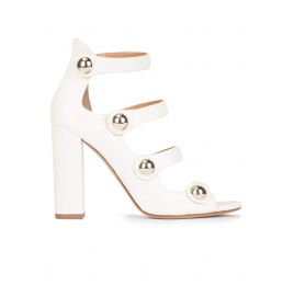 White strappy high block heel sandals in leather Pura López