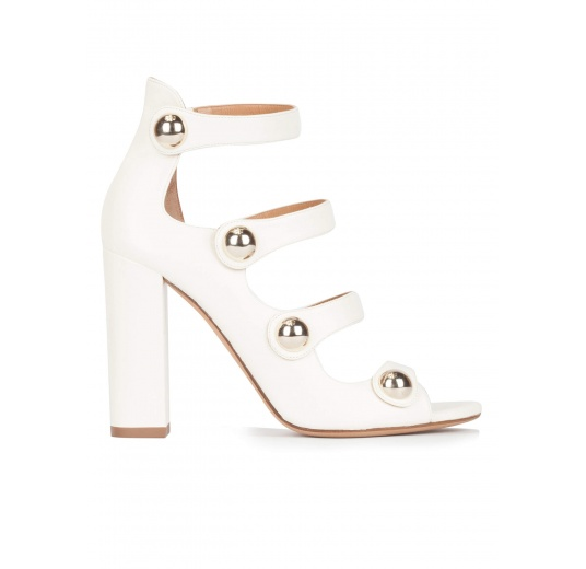 White strappy high block heel sandals in leather Pura L�pez