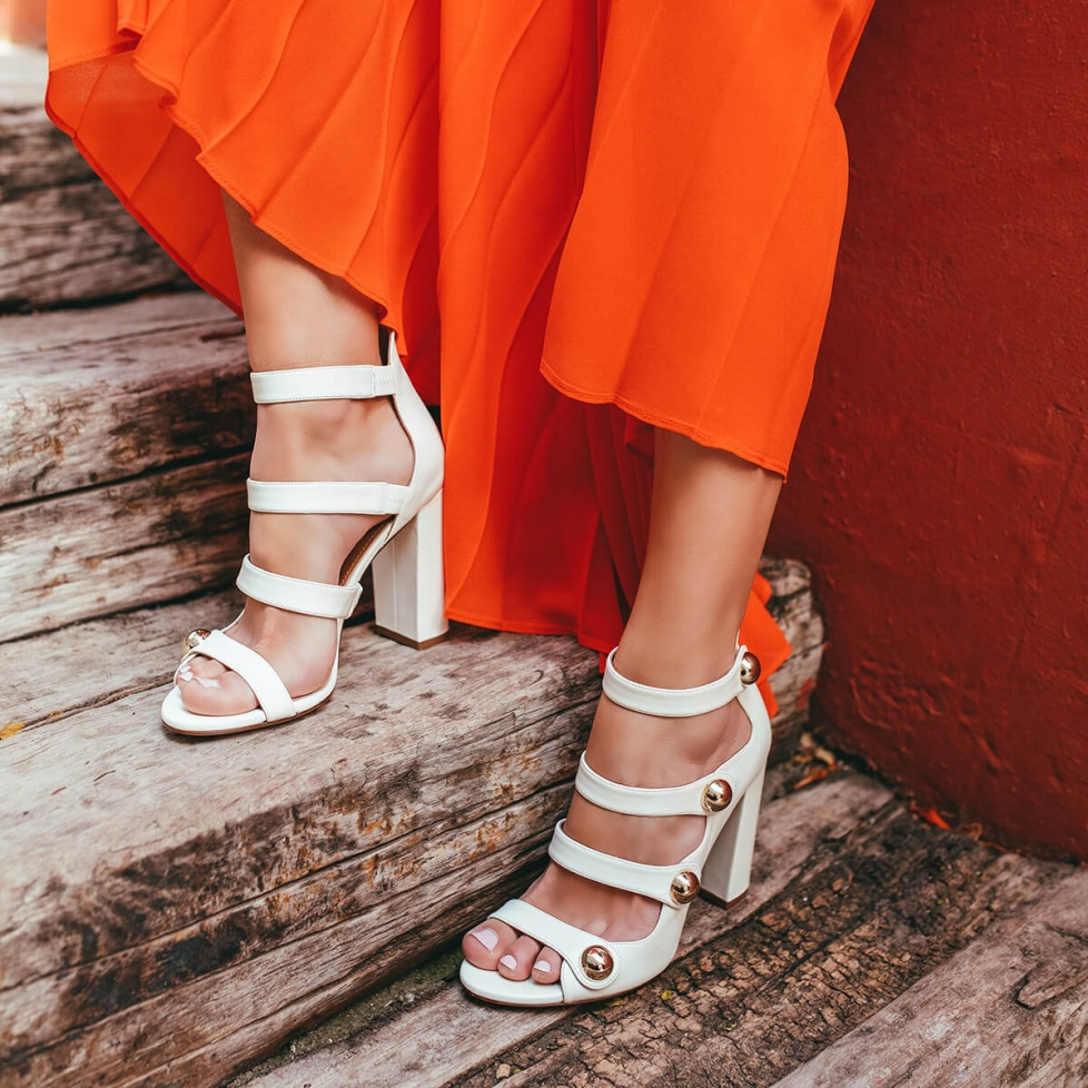 White strappy high block heel sandals in leather