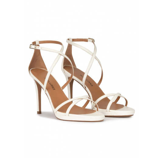 Platform stiletto heel sandals in off-white leather Pura López