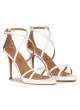 Platform stiletto heel sandals in off-white leather