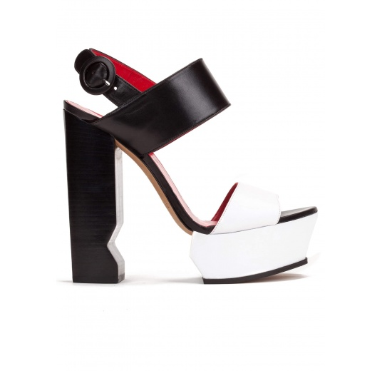 Platform high block heel sandals in black and white leather Pura López