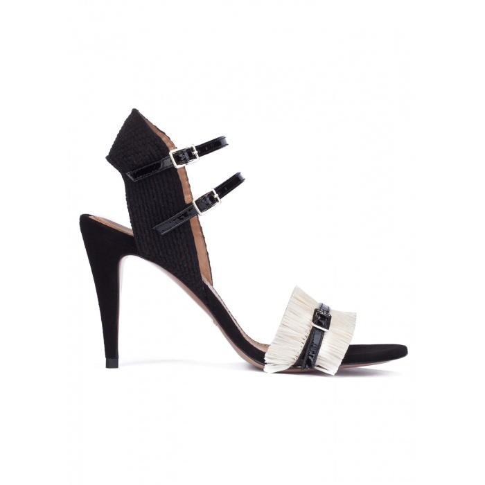 Black-white heeled sandals