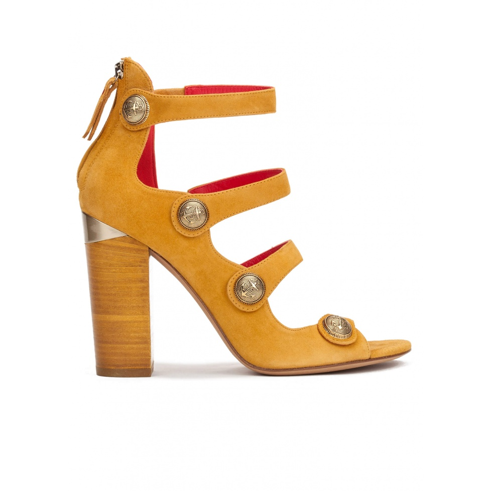 High block heel sandals in tobacco suede with metallic buttons