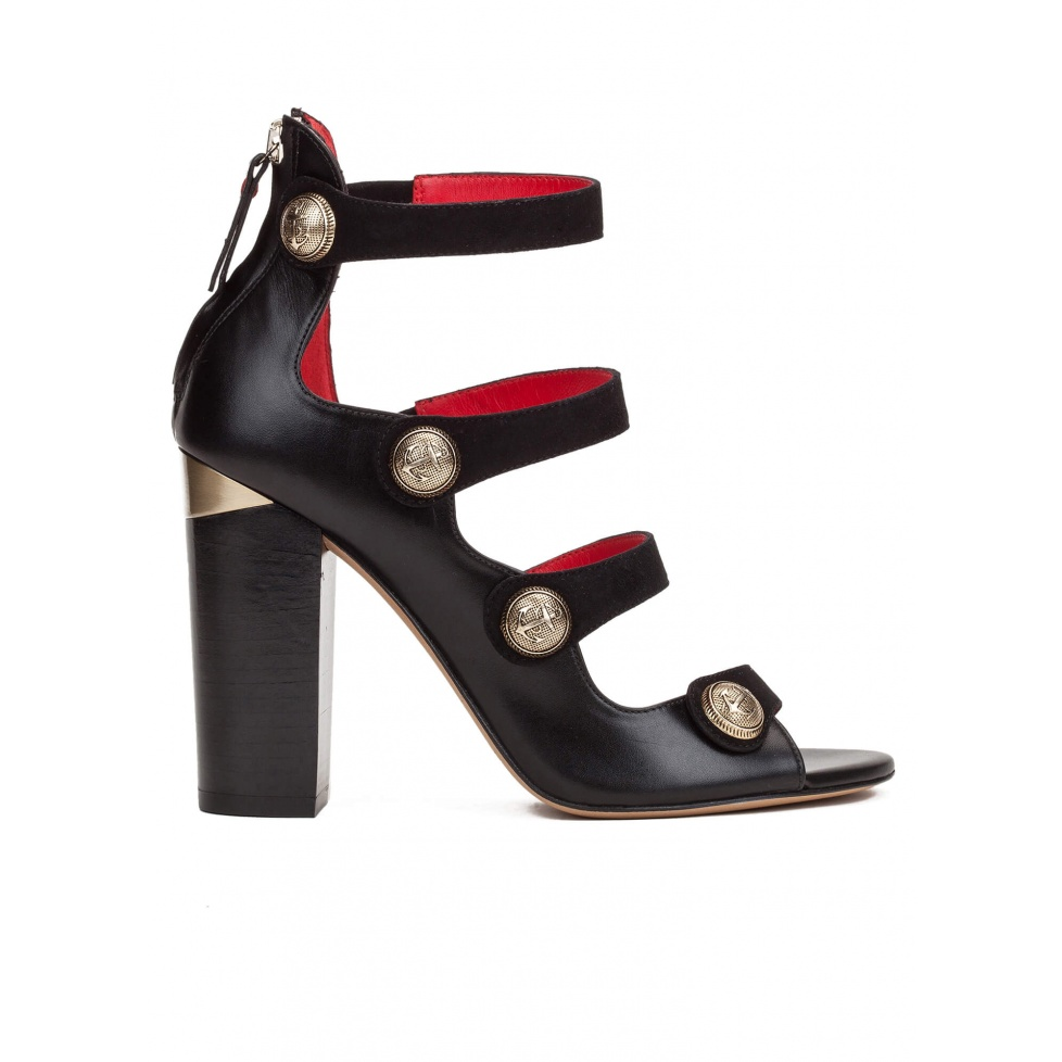 High block heel sandals in black leather with metal buttons