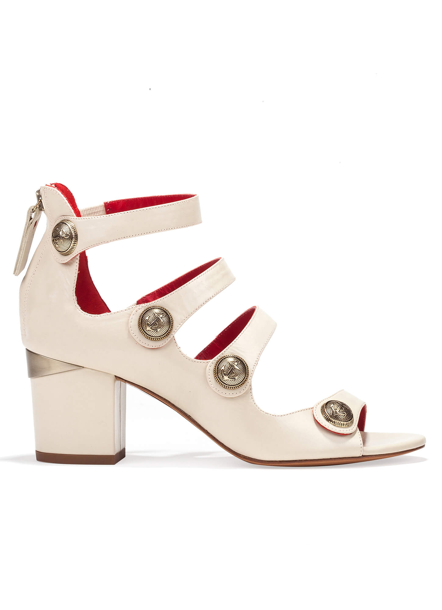 419c7ee2a566 Mid block heel sandals in cream leather with metallic buttons Mid heel  sandals with metal buttons - online shoe store Pura Lopez Kimber Pura López  ...