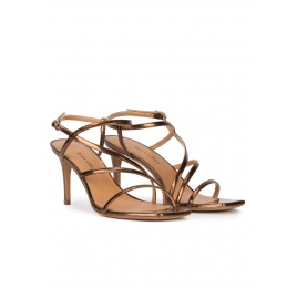 Sandalias de tacón medio y puntera cuadrada en piel bronce Pura López