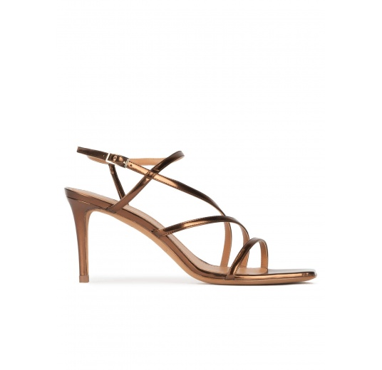 Mid heel squared-off toe sandals in bronze leather Pura López