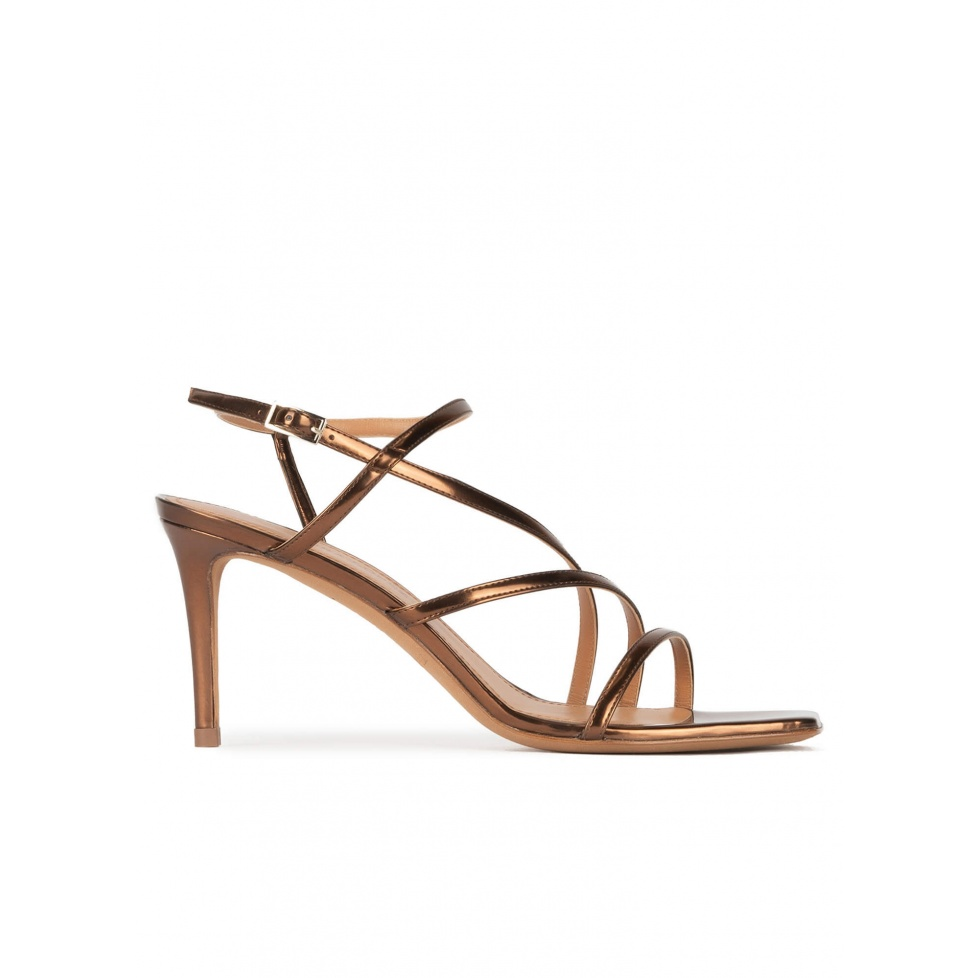 Mid heel squared-off toe sandals in bronze leather