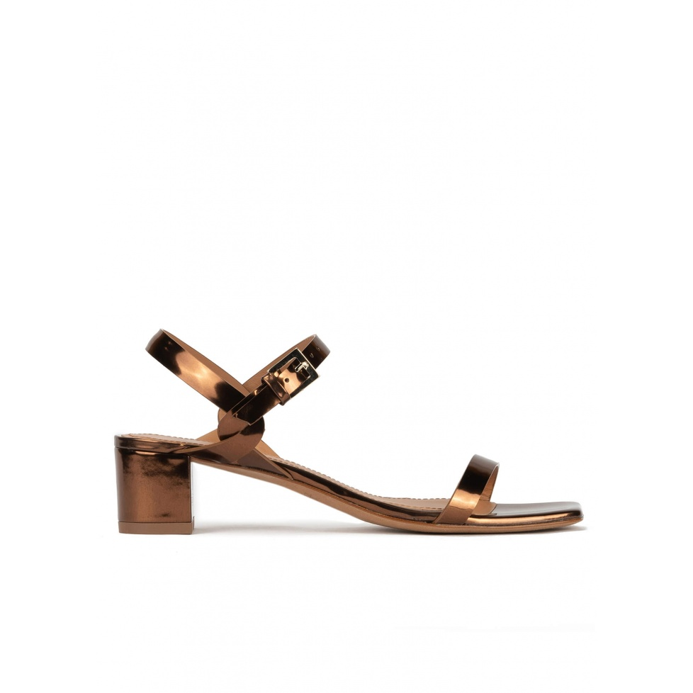 Bronze mid block heel sandals in metallic leather