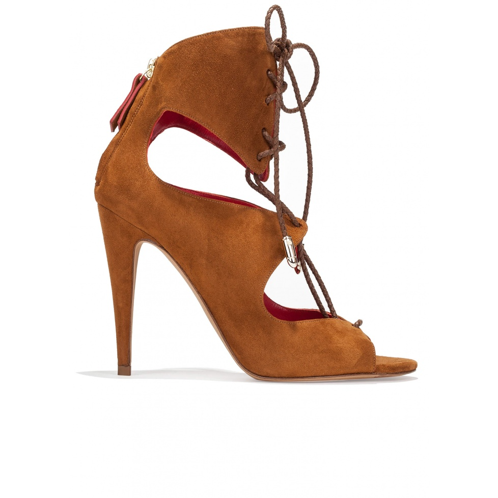 Lace-up high heel sandals in chestnut suede