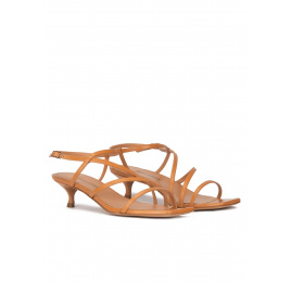 Strappy mid heel sandals in camel leather Pura López