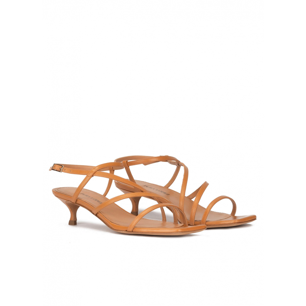 Strappy mid heel sandals in camel leather