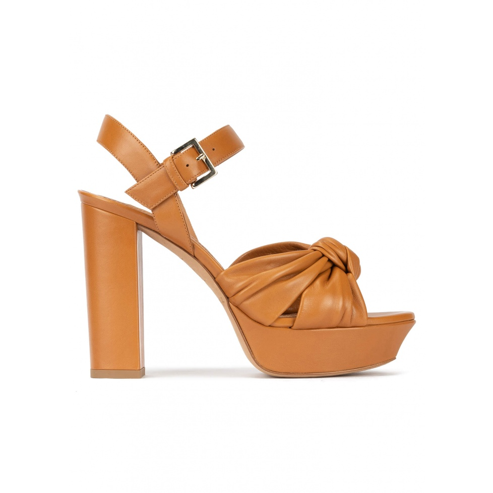 Block heel platform sandals in camel leather