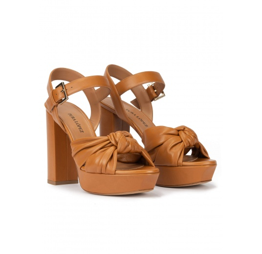 Block heel platform sandals in camel leather Pura López