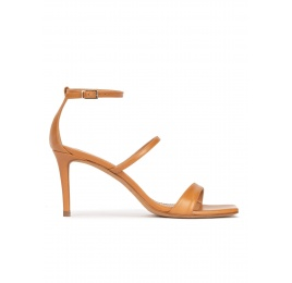 Camel leather ankle strap mid heel sandals Pura López