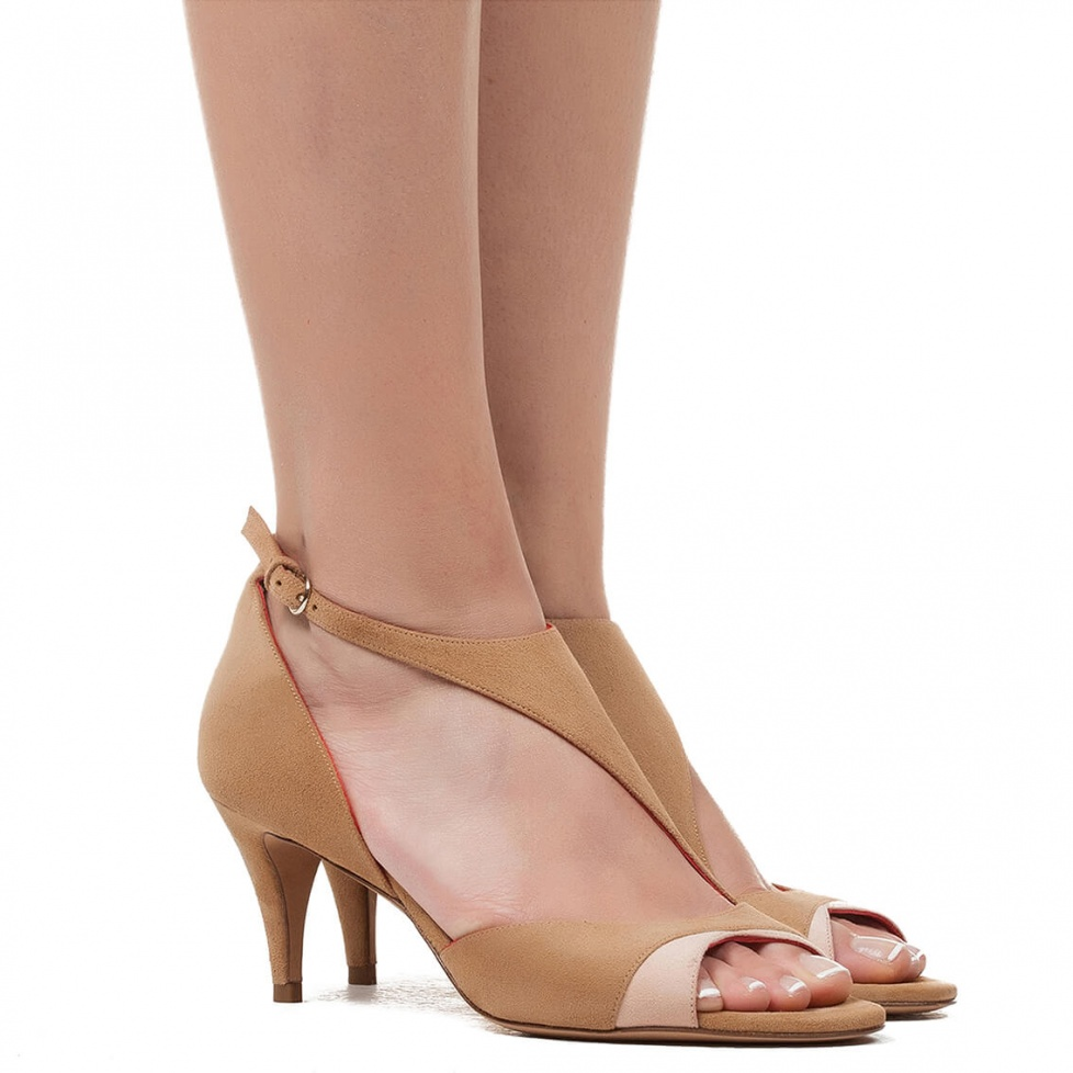 Two-tone suede mid heel sandals - online shoe store Pura Lopez