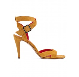 Strappy high heel sandals in tobacco suede Pura López