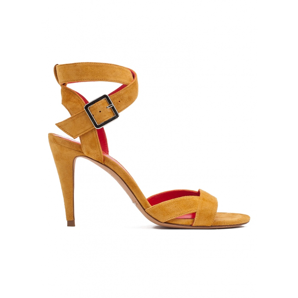 Strappy high heel sandals in tobacco suede