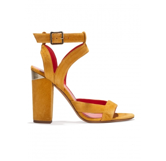 Strappy high block heel sandals in tobacco suede Pura L�pez