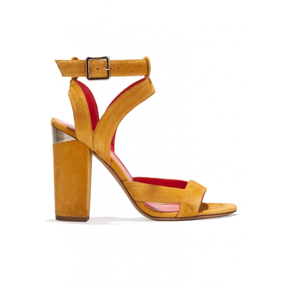 Strappy high block heel sandals in tobacco suede