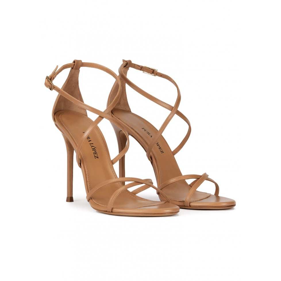Strappy high heel sandals in camel leather