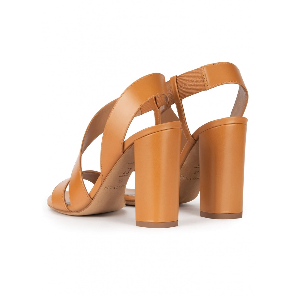 Strappy high block heel sandals in camel leather