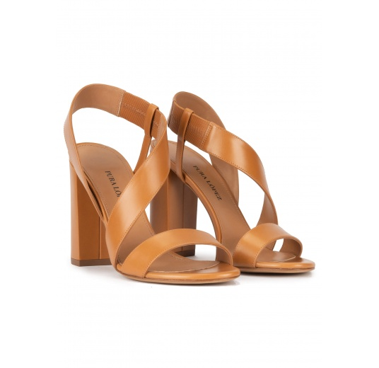 Strappy high block heel sandals in camel leather Pura López