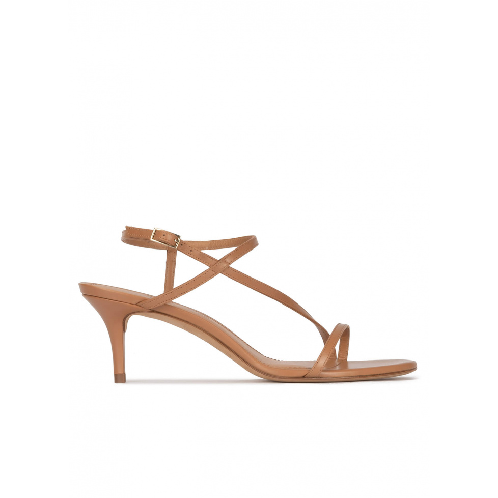 Strappy mid-heeled sandals in camel leather