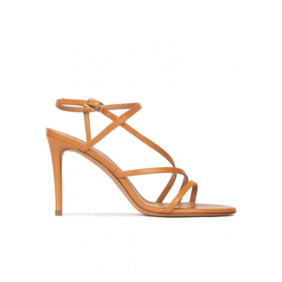 Sandales à talons hauts en cuir camel