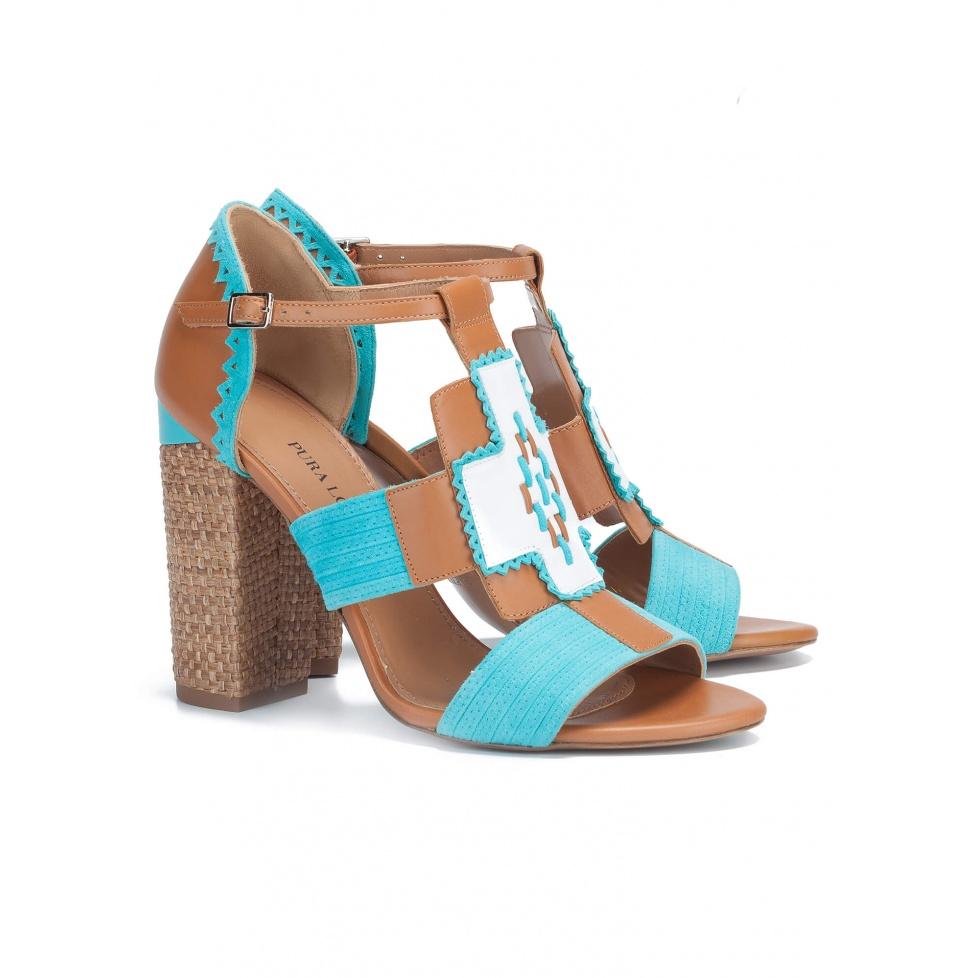 Camel high block heel sandals - online shoe store Pura Lopez