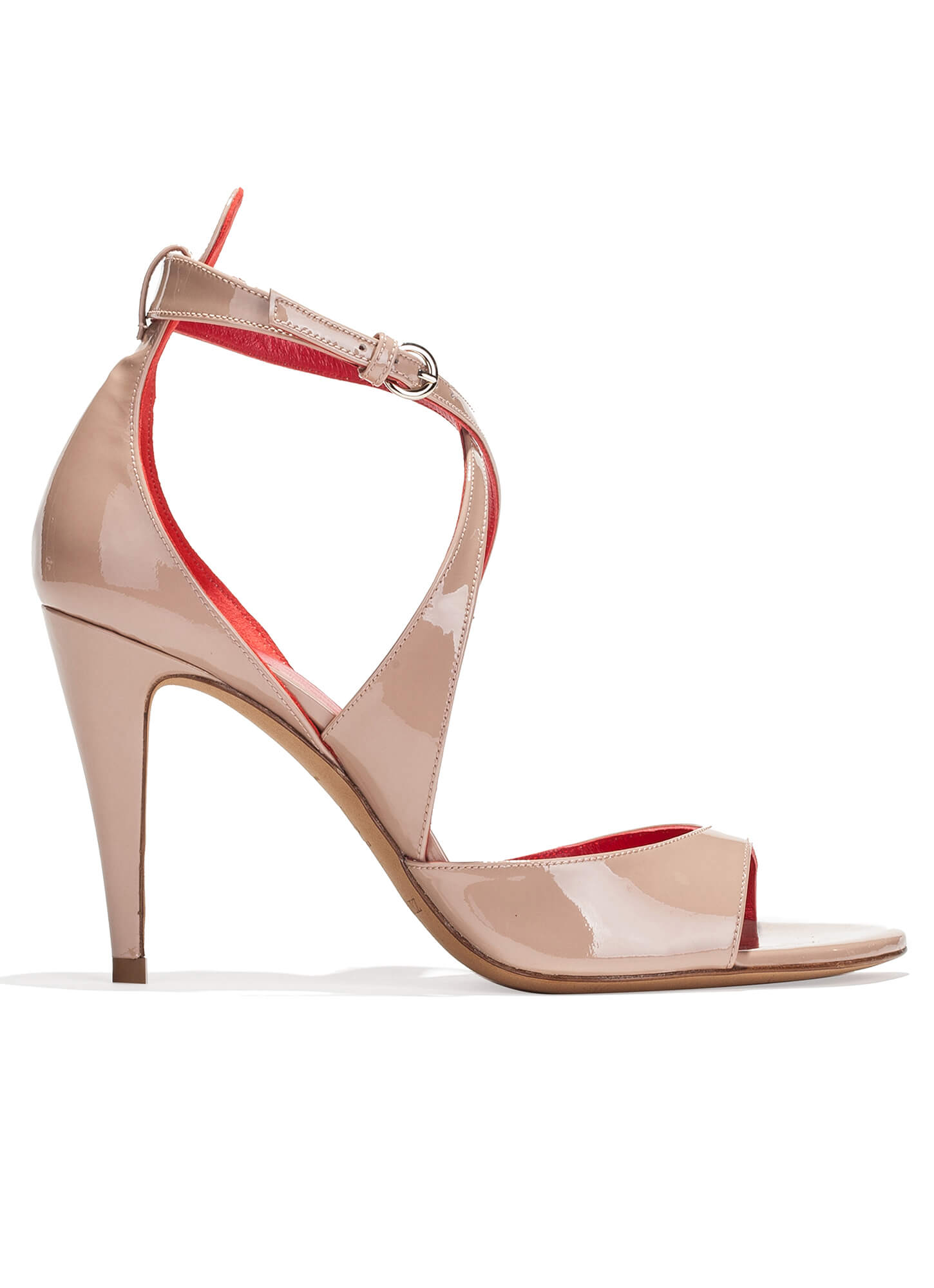 Prada Nude Patent Leather High Heel Slingback Sandals with