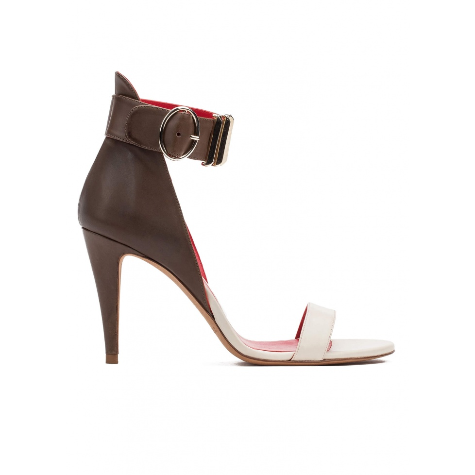 Two-tone ankle strap high heel sandals in leather