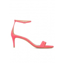 Ankle strap mid-heeled sandals in coral pink suede Pura López