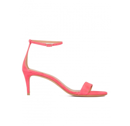 Ankle strap mid-heeled sandals in coral pink suede Pura L�pez