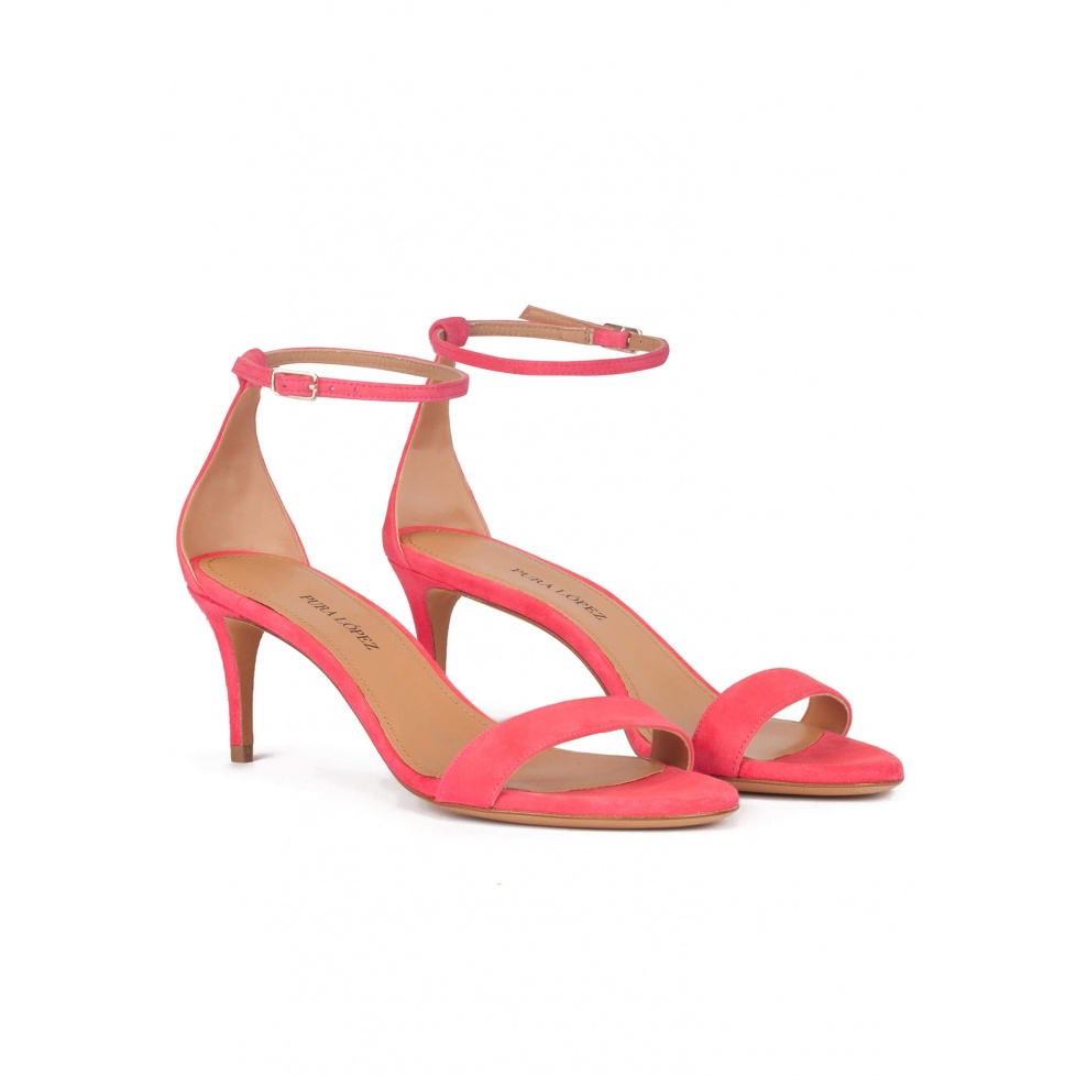 Ankle strap mid-heeled sandals in coral pink suede