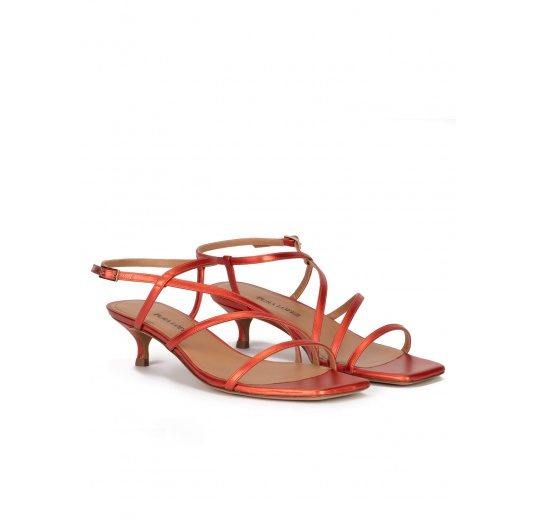 Coral strappy mid heel sandals in metallic leather Pura López
