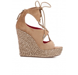 Lace-up wedge sandals in sand suede Pura López