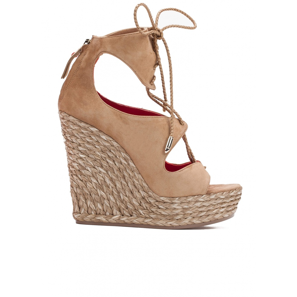 Lace-up wedge sandals in sand suede