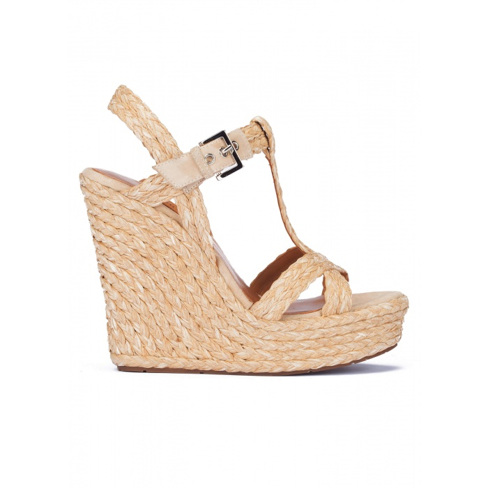 Espadrille wedge sandals in sand raffia