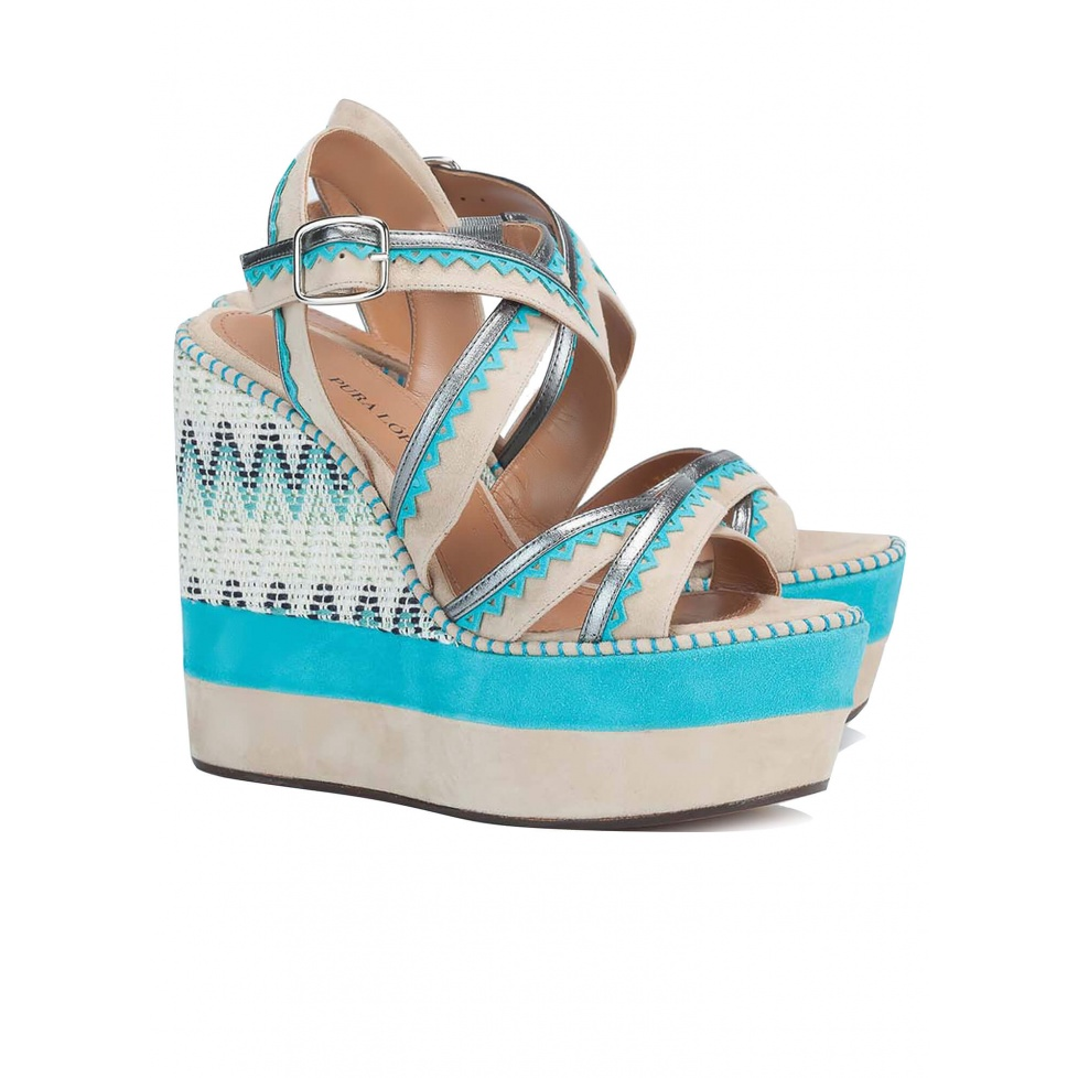 High wedge sandals in sand suede - online shoe store Pura Lopez